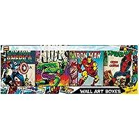 4-Piece Marvel Recycled MDF Wood Retro Comic Wall Art Set (M79B001GFT)