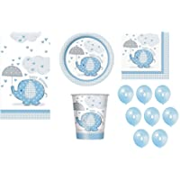 Unique Party Bpwfa-4168 éléphant Baby Shower Party Boy Service de table pour 16 personnes, Bleu, 57-piece