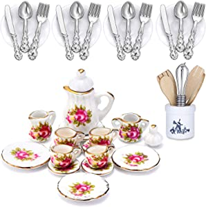 37 Pieces 1:12 Scale Miniatures Dollhouse Kitchen Accessories Include 16 Mini Doll Plates Knife Fork Spoon, 6 Mini Egg Beater Utensil, 15 Mini Tea Cup Set for Doll Toy Supplies (Red Rose)