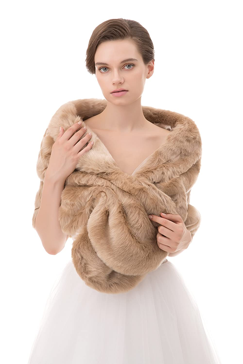 Wowbridal Women's Winter Warm Faux Fur Shawl Coat Jacket Parka Outerwear Tops Wrap