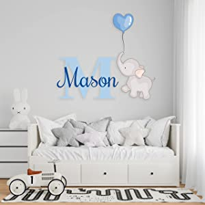 Cute Elephant Clouds and Stars Wall DStickers - Prime Series - Baby Girl or Boy - Custom Name & Initial - Nursery Wall Decal for Baby Room Decorations - Mural Wall Decal Sticker for Home Children's Bedroom