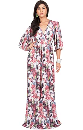 0ac2862d0010 KOH KOH Women Long Kimono 3/4 Sleeve Sleeves Flowy Floral Flower Print  Casual Summer Sun Maternity Sundress Gown Gowns Maxi Dress Dresses, Red  Gray and ...