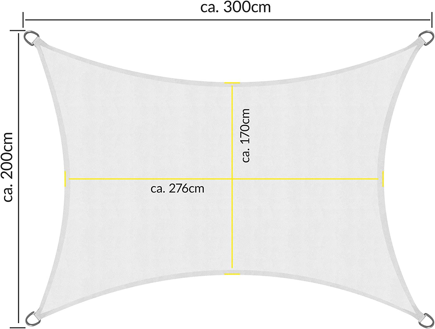 Sol Royal Garden Shade Sail SolVision Water Resistant UV Proof Protection Canopy Sun Sail Square 2 x 3 m Grey