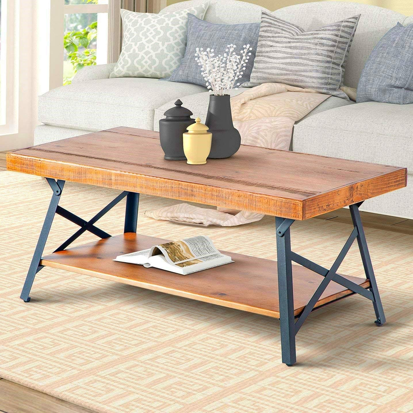 Coffe Tables for Living Room, Norcia Industrial Tea Table with Thicker Solid Wood Table Top Beige