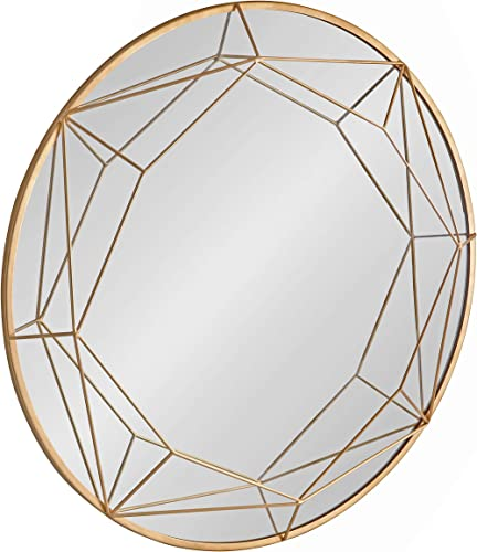 Kate and Laurel Keyleigh Modern Round Metal Framed Wall Mirror, 30 Diameter, Gold, Chic Geometric Mirror Accent for Wall