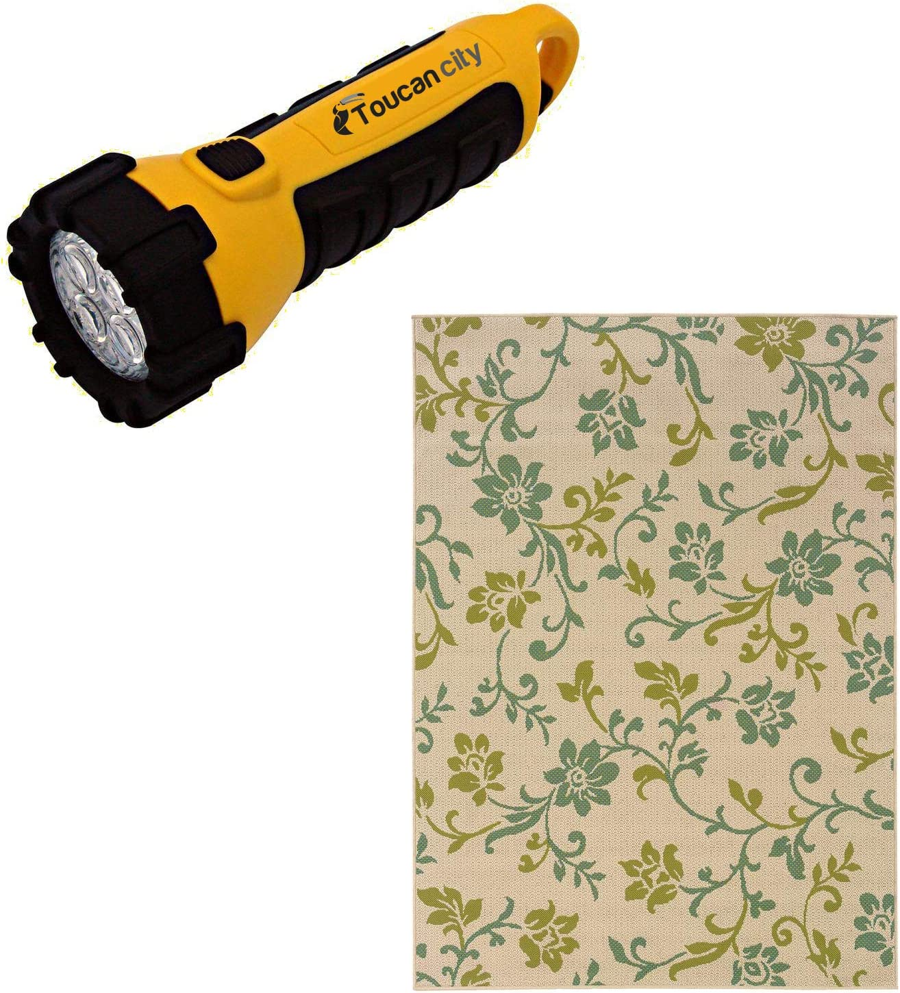 Toucan City LED Flashlight and Home Decorators Collection Adelaide Beige 8 ft. x 11 ft. Outdoor Area Rug 0931070420