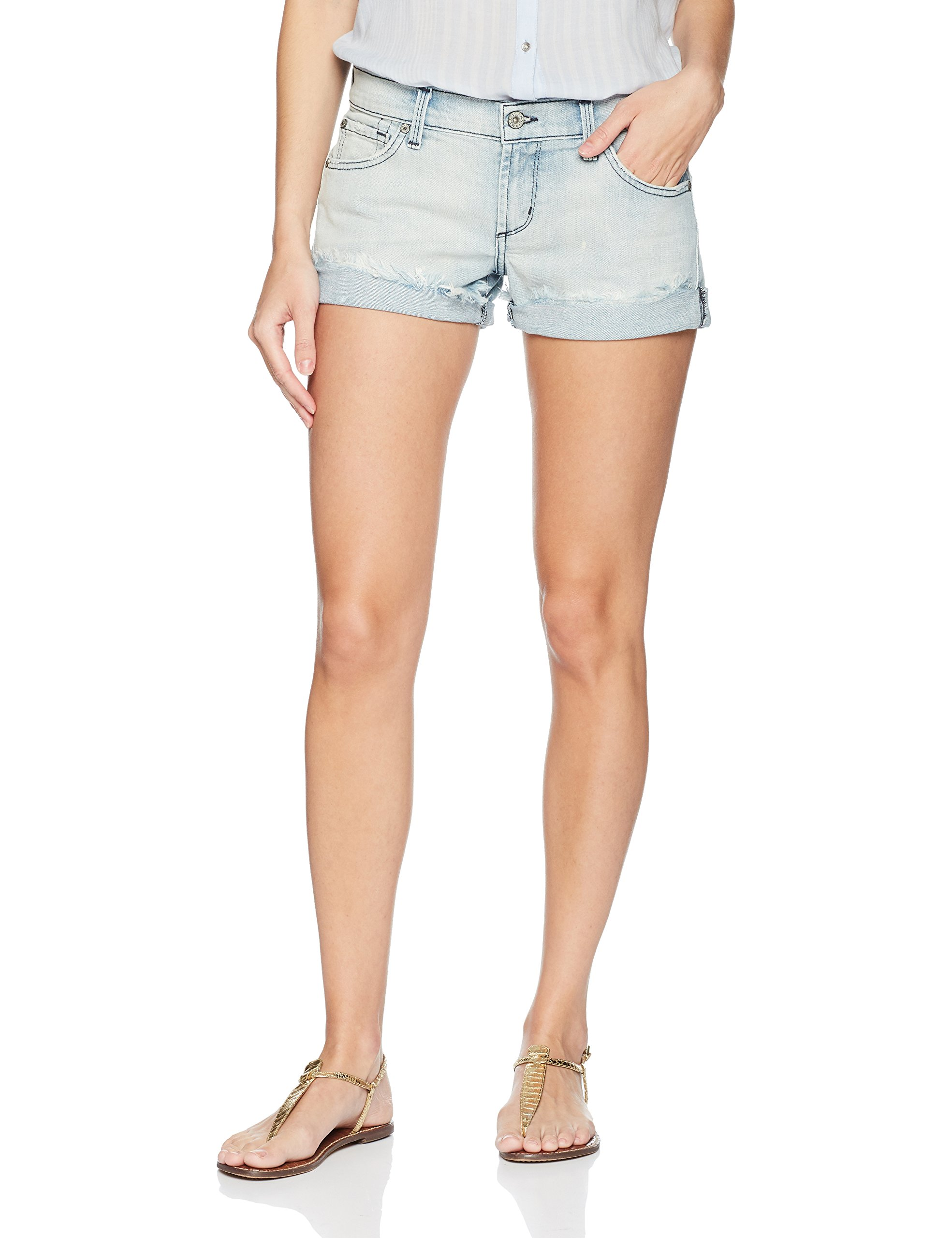 James Jeans Women's Charlie Rolled Hem Baggy Boyfriend Shorts, Crossroads, 29