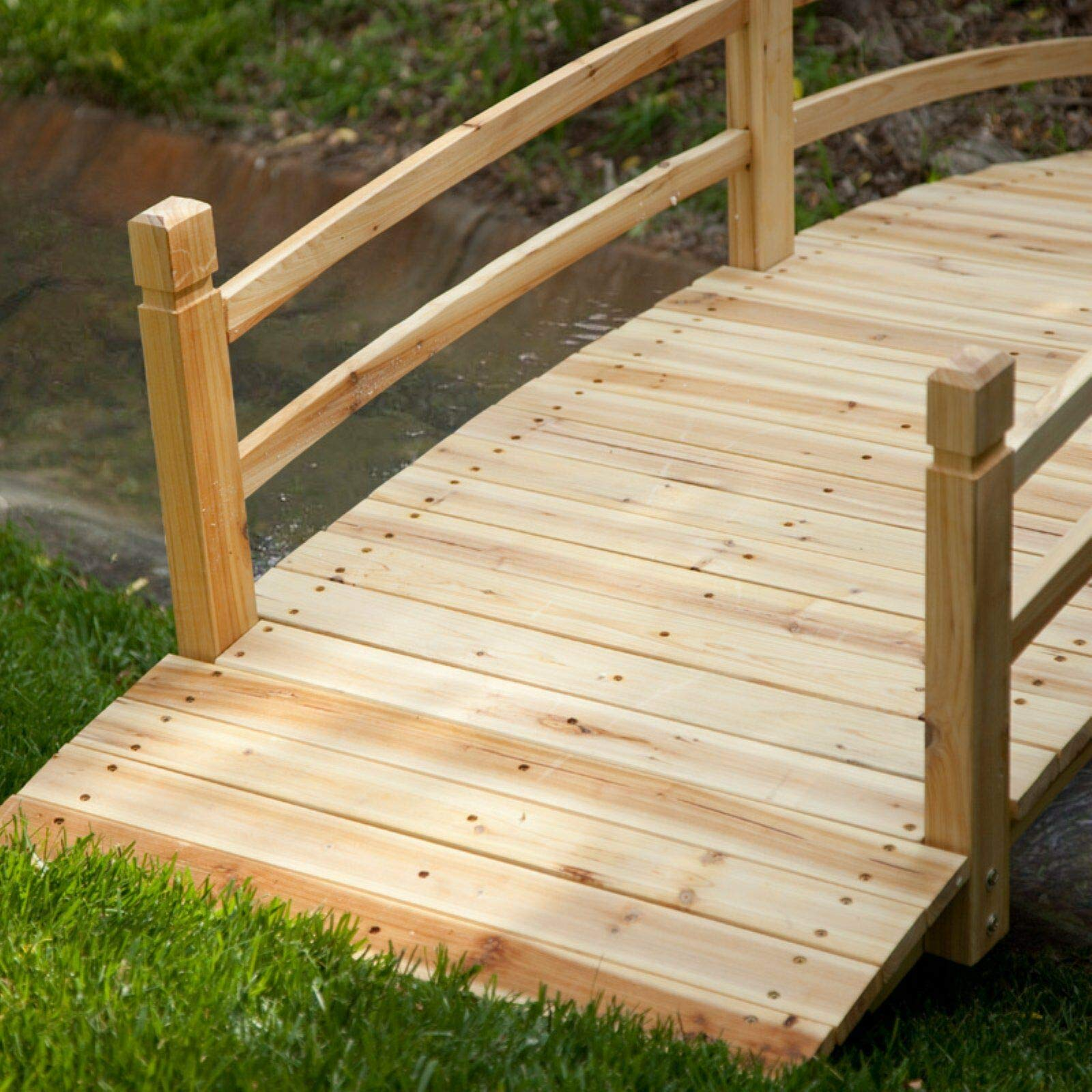 Home Improvements Natural Finish Wood 8 Foot Garden Bridge Outdoor Yard Lawn Landscaping Decor by Home Improvements (Image #3)