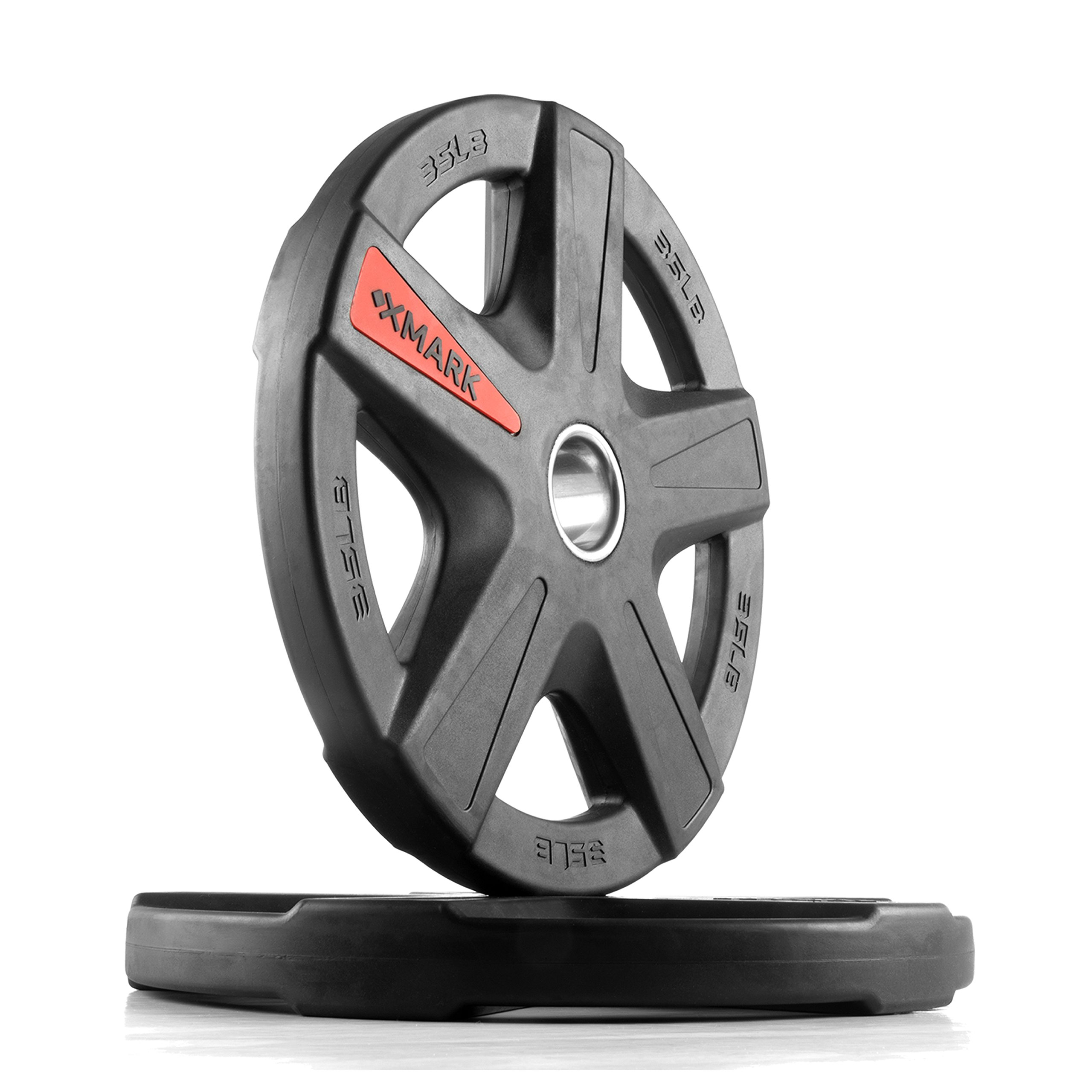 XMark Texas Star 35 lb Pair Olympic Plates, Patented Design, One-Year Warranty, Olympic Weight Plates