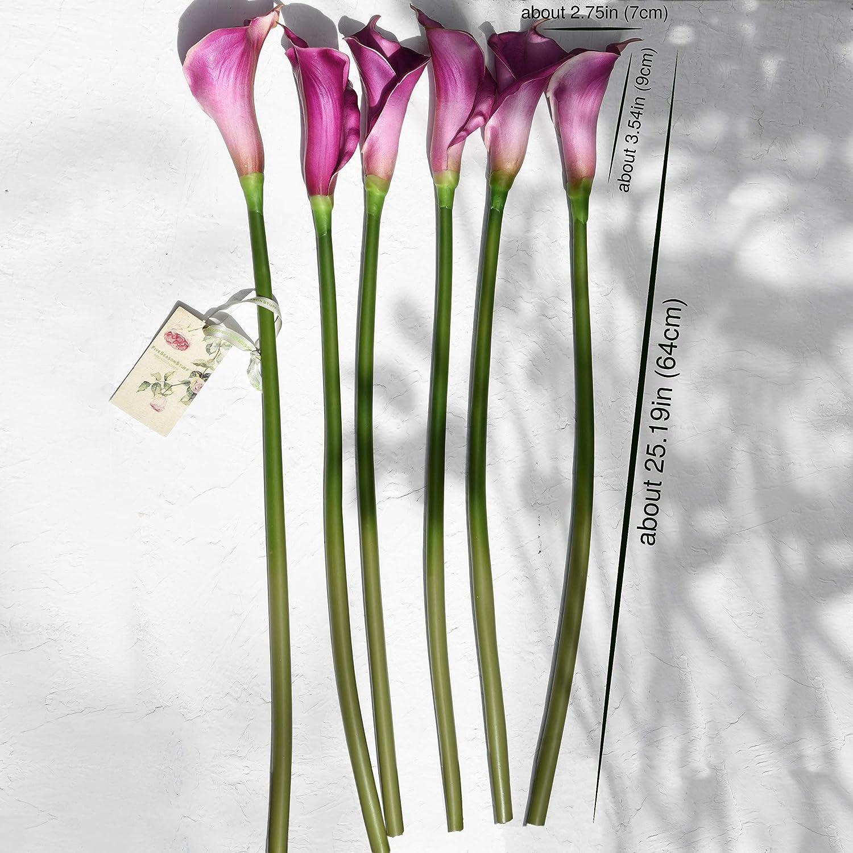 FiveSeasonStuff 6 Long Stems of Real Touch Artificial Purple Calla Lily Flowers /& Bouquet 64cm for Home Shop Office Restaurant Wedding Party D/écor//DIY Flower Arrangement Decoration 25.2 inches