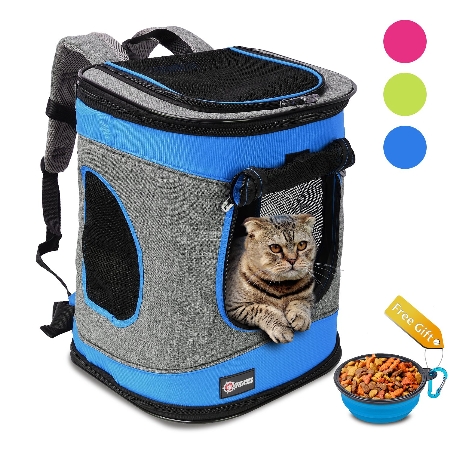 Pawsse Comfort Pet Carrier Backpack for Cats and Dogs up to 15 LBS Outdoor Travel Carrier for Pets Hiking, Walking, Cycling & Outdoor Use 16'' H x13.2 L x12 W Blue