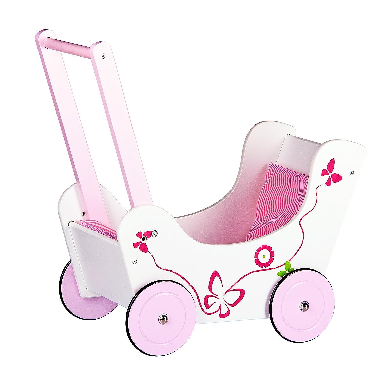 Lauflernwagen Holz Mädchen - Puppenwagen Schmetterling