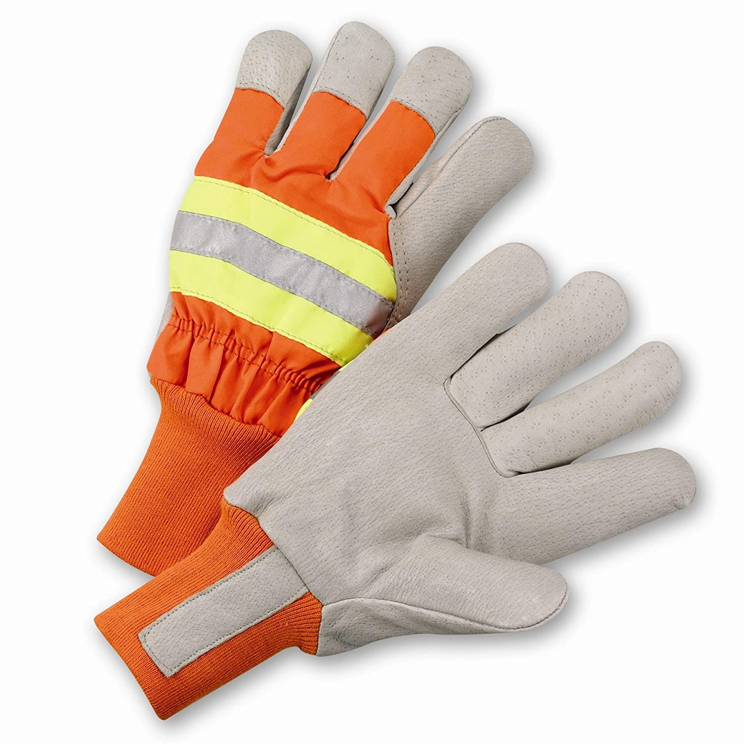 Orange West Chester HVO1555 High-Visibility Grain Pigskin Leather Palm Posi-therm Lined Gloves Pack of 12 XL HVO1555//XL