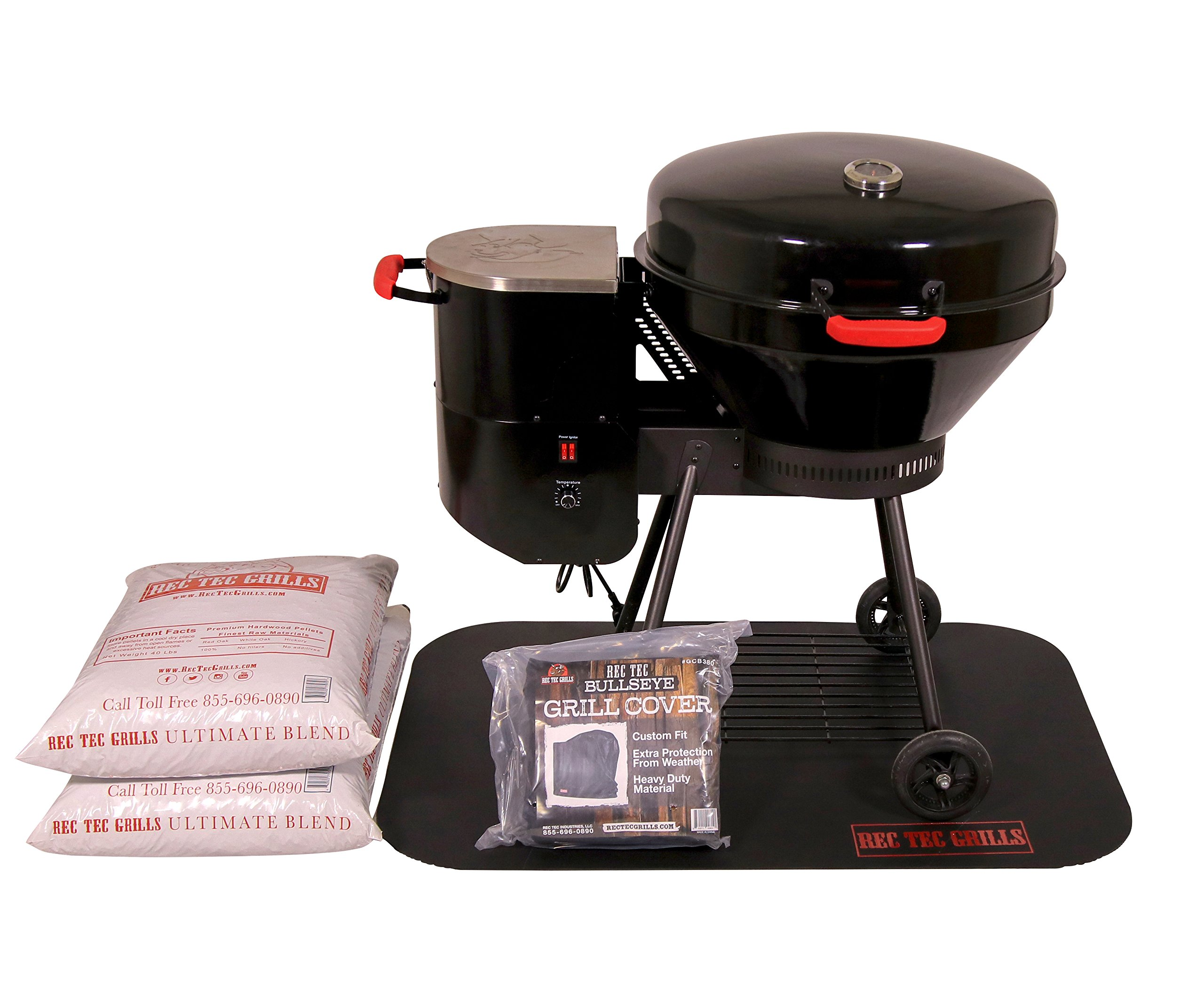 REC TEC Grills Bullseye | RT-B380 | Bundle | Wood Pellet Grill | 15lb Hopper | 2 Year Warranty | Hotflash Ceramic Ignition System
