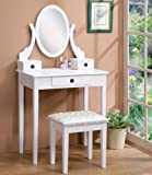 Amazon Price History for:Roundhill Furniture Moniya White Wood Vanity Table and Stool Set