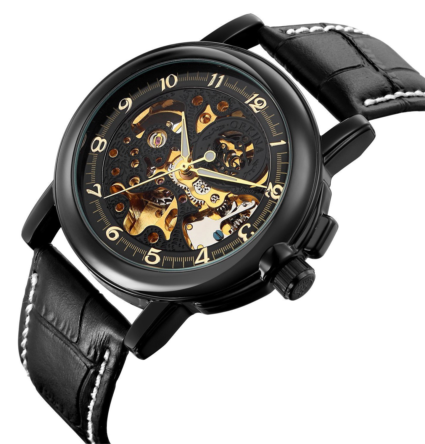 Carrie Hughes Men's Steampunk Skeleton Mechanical Stainless Steel Automatic Watch Leather Black CH25 4