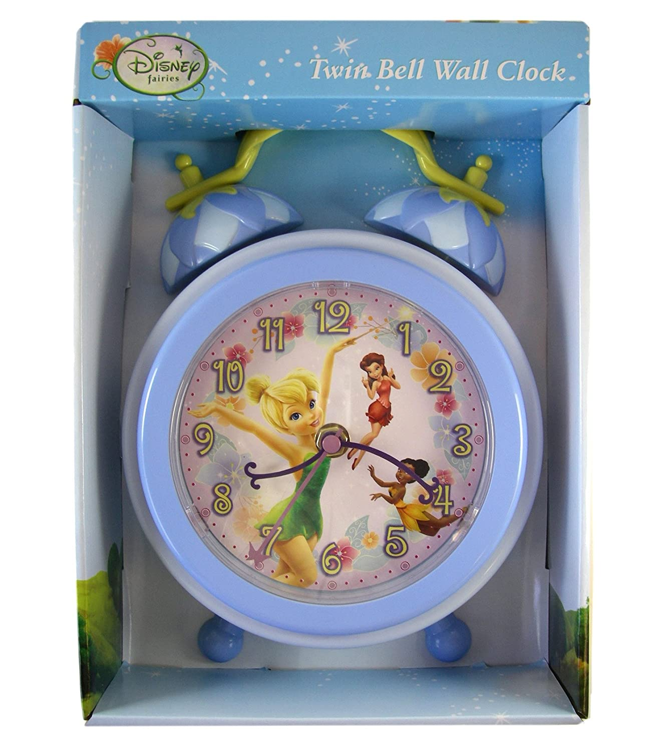 Amazon disney fairies twin bell tinkerbell wall clock amazon disney fairies twin bell tinkerbell wall clock tinkerbell clock toys games amipublicfo Image collections
