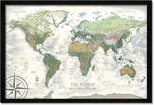 GeoJango Push Pin Mapa del Mundo – Personalizado el Nautilus Mapa de Viaje del Mundo – 24 x 18 Pulgadas Mapa Enmarcado – Creado por un geógrafo Profesional: Amazon.es: Juguetes y juegos