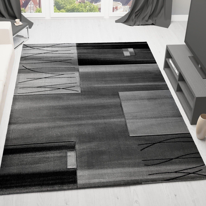 VIMODA Teppich Modern Designer Klassik Kariert Gestreift in Grau,sehr dicht gewebt - Geprüft auf Schadstoffe, Maße  80x300 cm