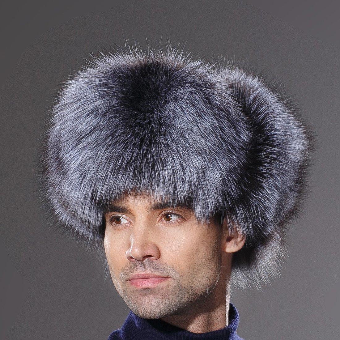 URSFUR Winter Mens Russian Ushanka Hat Real Leather & Silver Fox Fur Trapper Cap by URSFUR (Image #3)