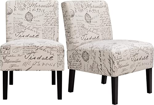 YAHEETECH Modern Fabric Armless Accent Chair Letter Print Upholstered Chair Bedroom Chair Single Sofa Chair