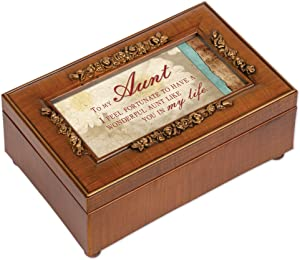 Cottage Garden Aunt Fortunate to Have You Woodgrain Embossed Jewelry Music Box Plays Wonderful World