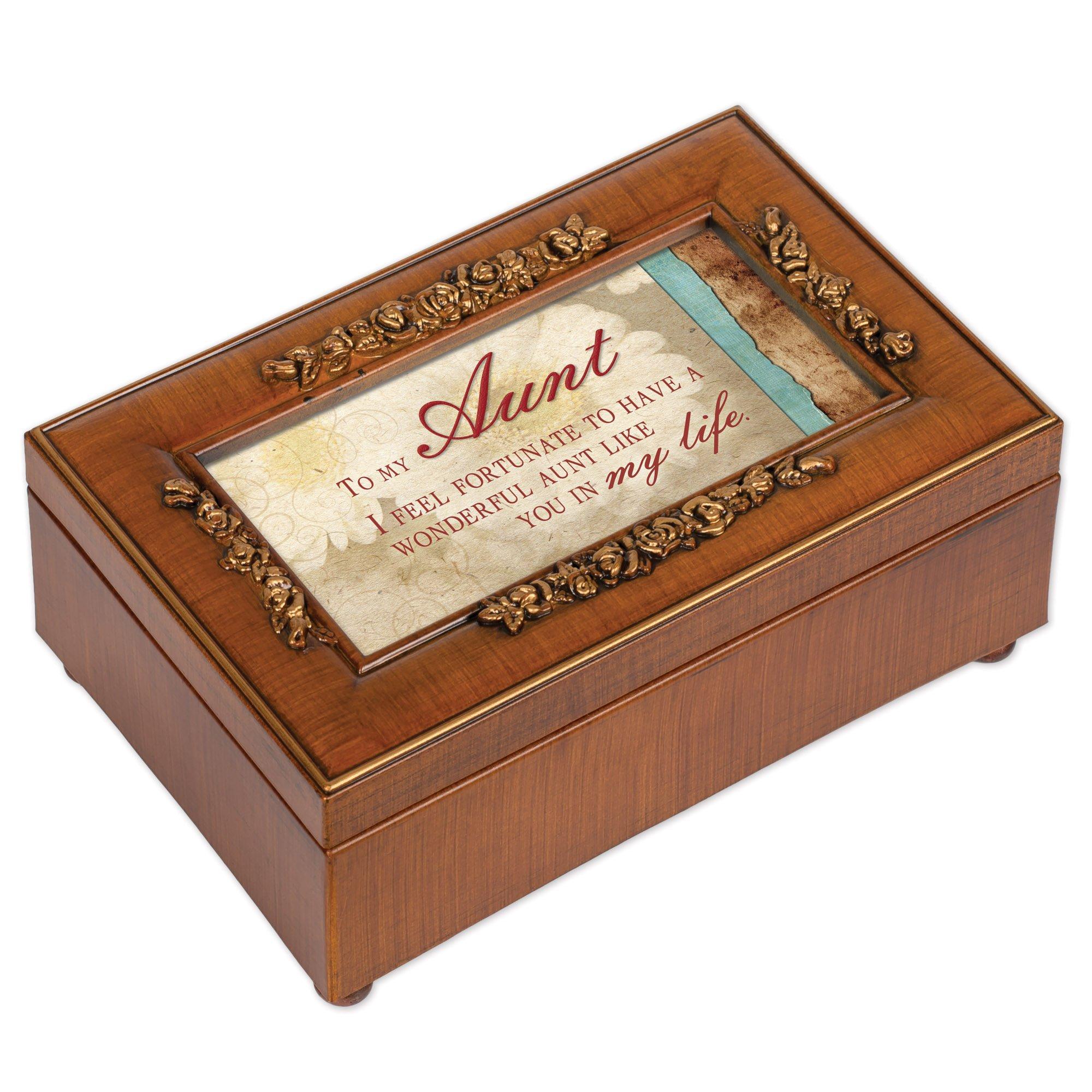 Aunt Rich Walnut Finish Petite Jewelry Music Box - Plays Wonderful World