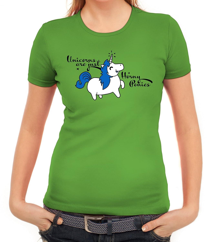 Unicorn Damen T-Shirt mit Horny Pony Motiv von ShirtStreet: Amazon.de:  Bekleidung