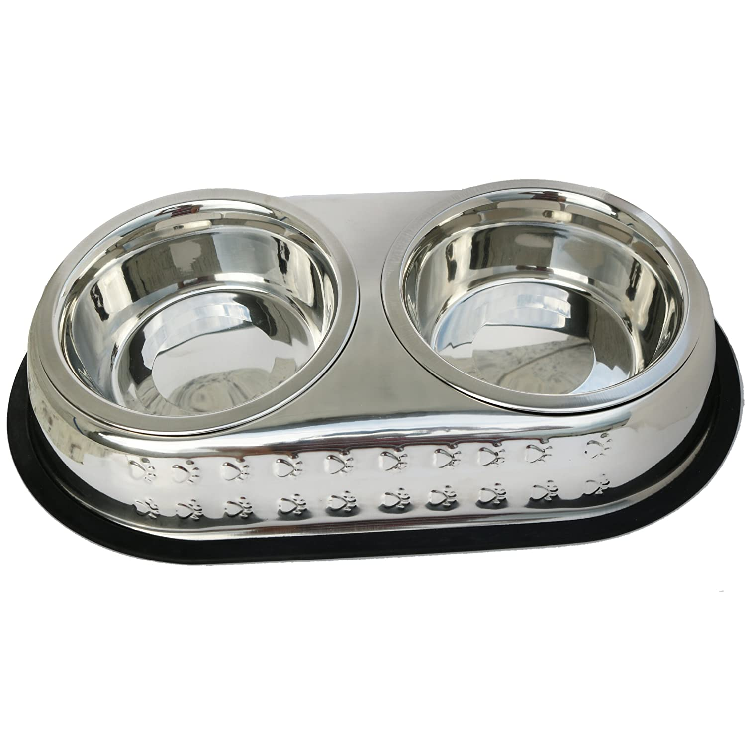 Double Dish Chrome Embossed Stainless Steel Pet Feeding Station by Mr. Peanut