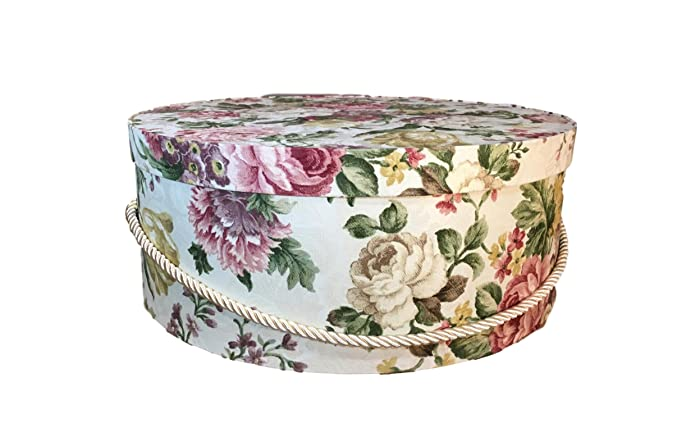 Extra Large Hat Box In Jewel Tone Floral, Large Decorative Fabric Covered Hat  Boxes,
