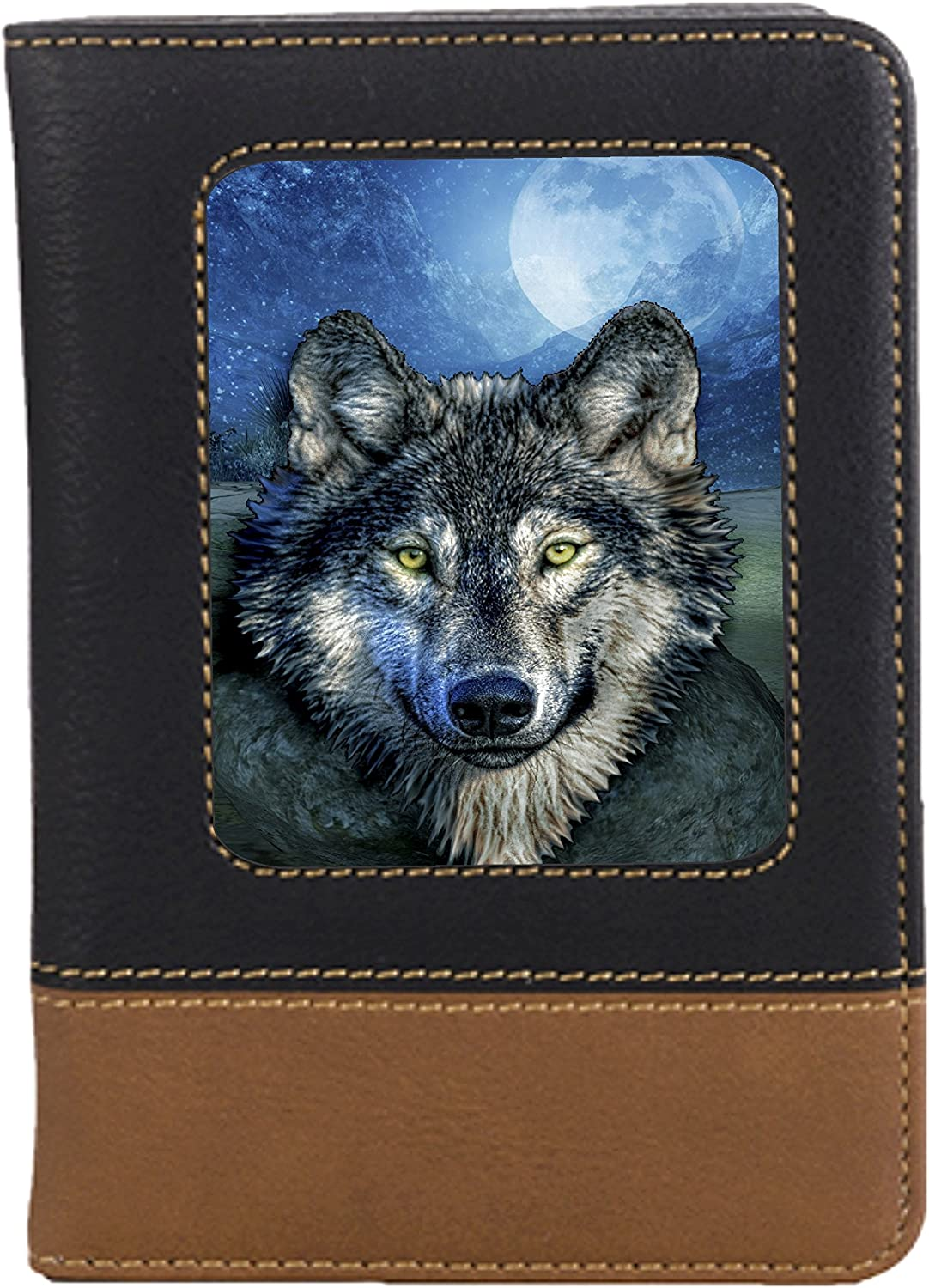 Grey Wolf Leatherette Passport Wallet Style Case Cover For Travel