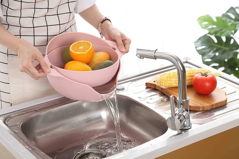 lavage stockage de fruits et de l/égumes Green respectueux de lenvironnement 2 en 1 multifonctions de cuisine Passoire//passoire et bol Ensemble Nettoyage