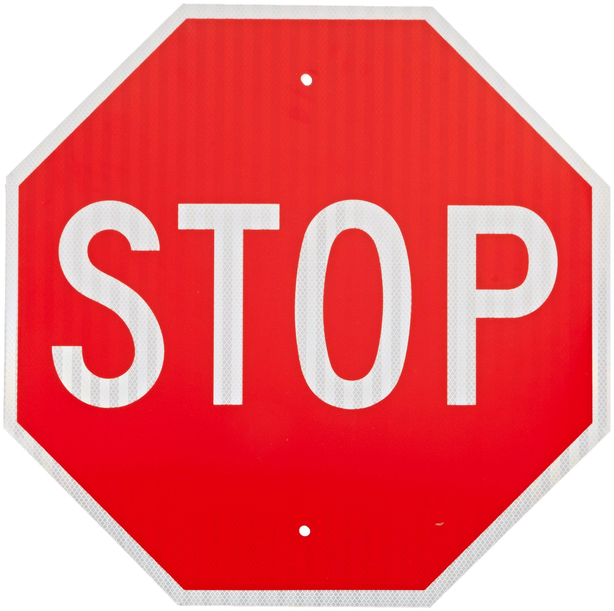 SmartSign MUTCD # R1-1 3M Diamond Grade Reflective Aluminum Sign, Legend ''Stop'', 30'' tall octagon, White on Red