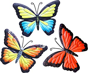 Hanizi Metal Butterfly Wall Decor Wall Sculpture Hanging Art Indoor Outdoor, 3 Pack 9.5 x 7.1 Inch