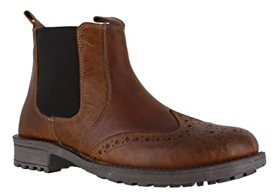 5b387fc3 Catesby Mens Pull On Dealer Chelsea Leather Brogues Boots: Amazon.co ...