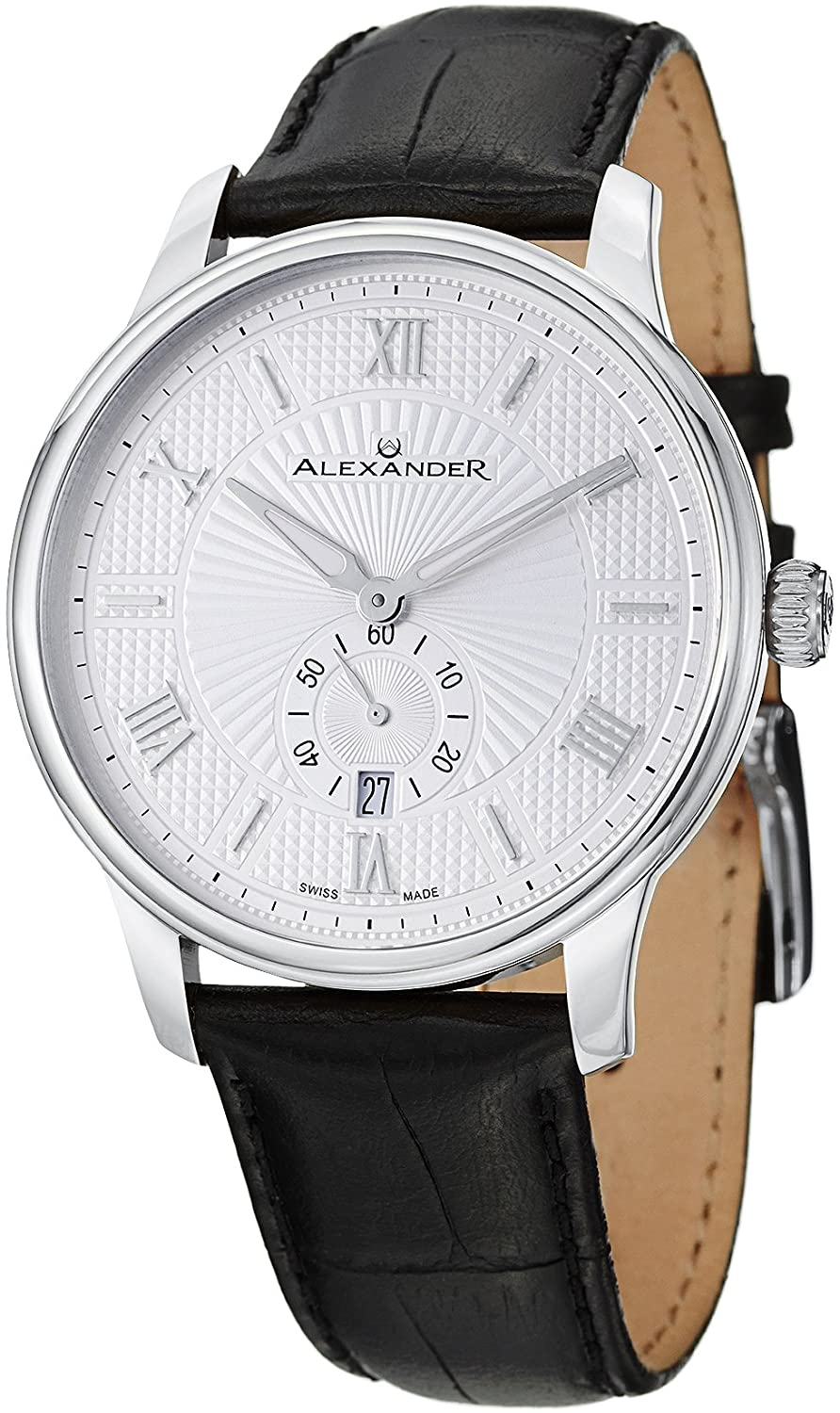 7042b7241ab Alexander Statesman Regalia Wrist Watch For Men - Black Leather Stainless  Steel Analog Swiss Watch - Silver White Dial Date Small Seconds Mens  Designer ...