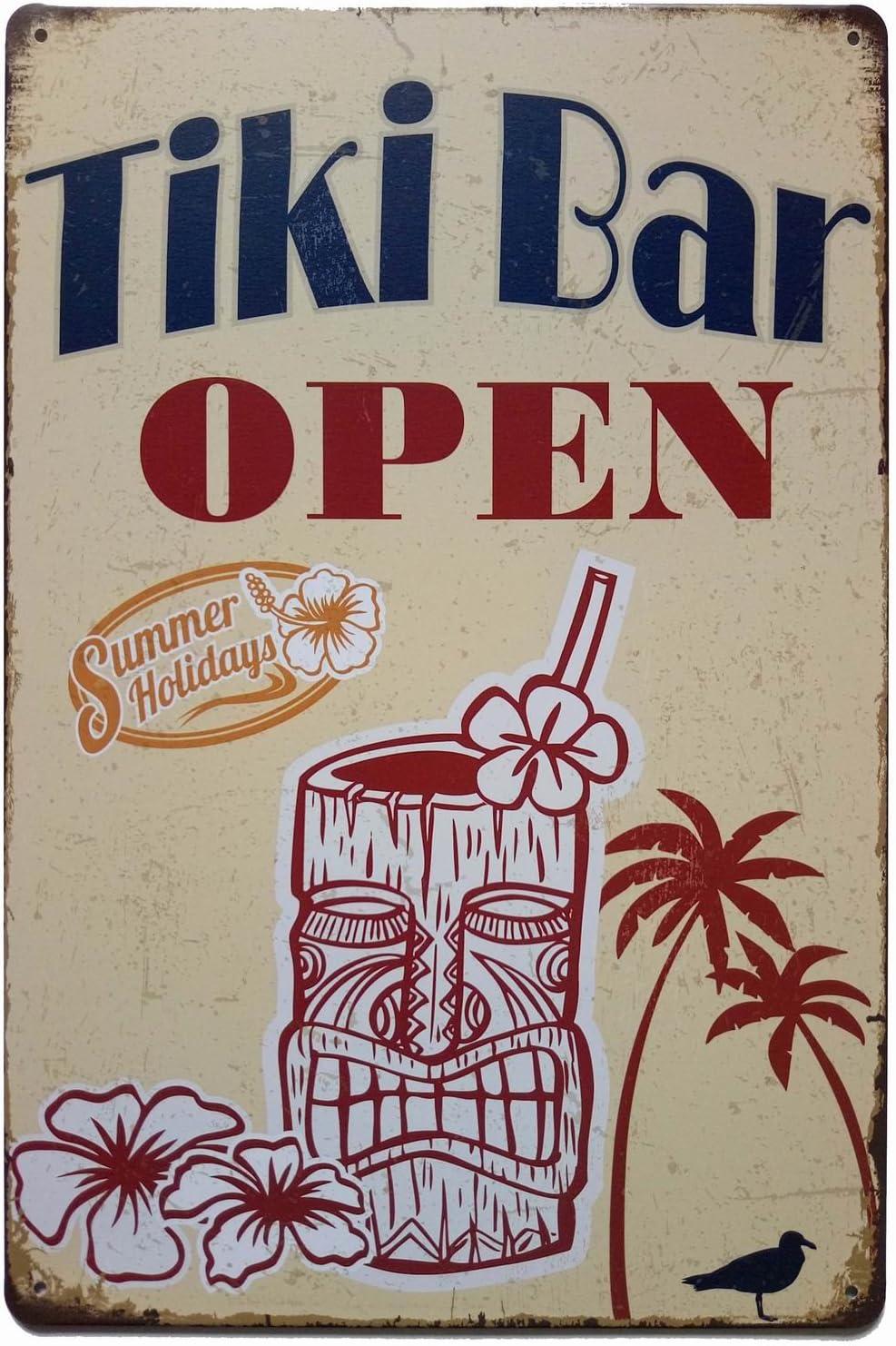 ERLOOD Tiki Bar Open Summer Holidays Vintage Metal Tin Sign Poster Home Plaque Poster Wall Art Pub Bar Decor 12 X 8