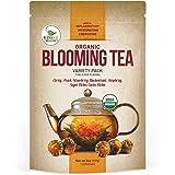 Blooming Tea - 7 Organic All Natural Flavors of Flowering Tea - 100% Organic Calendula Flowers and Green Tea Leaves in Hand Sewn Blooming Tea Balls - 7 Blooms - 1 of Each Flavor