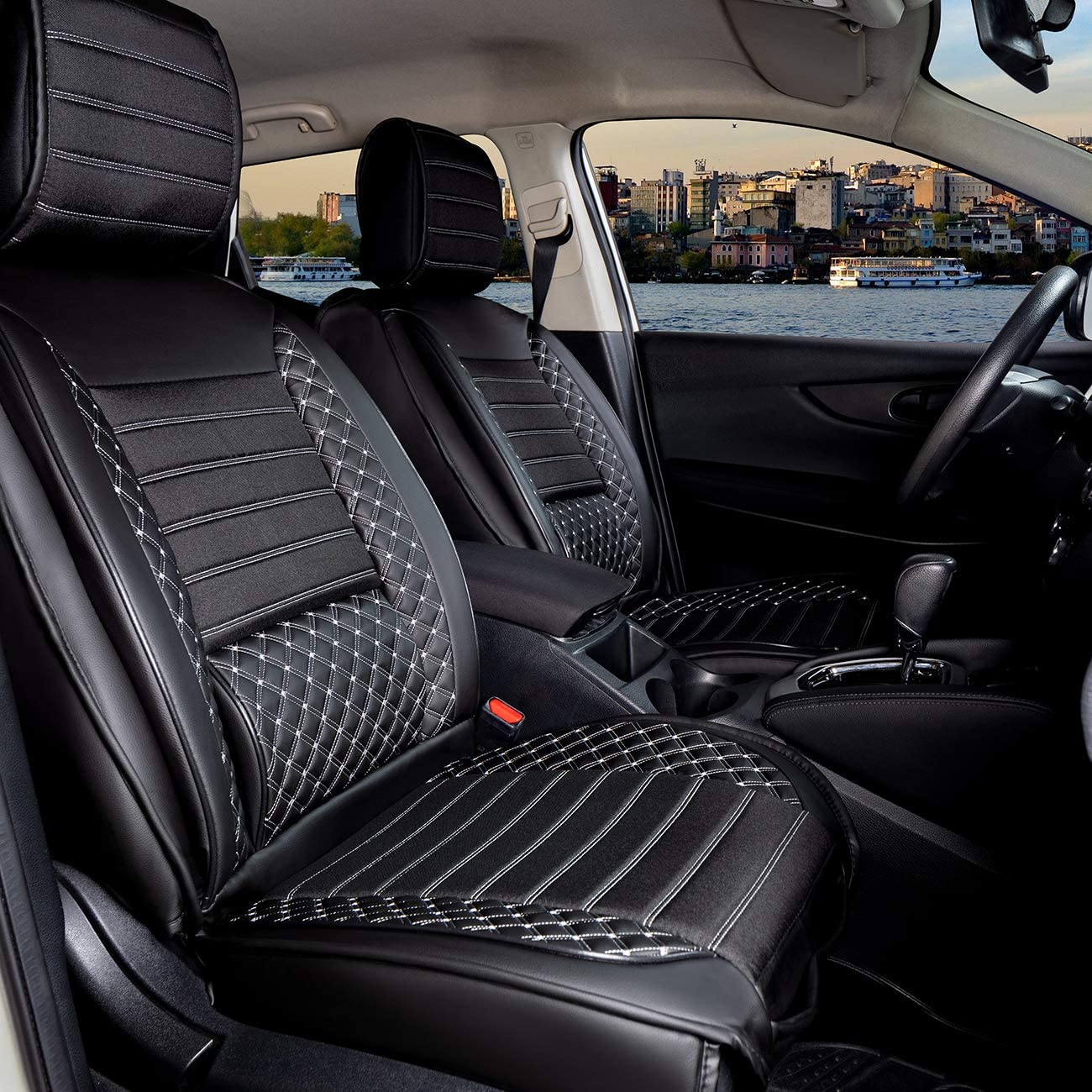 apto para Skoda Karoq a partir de 2017 Fundas de asiento de coche de piel sint/ética juego completo para asientos delanteros y traseros en color negro//blanco