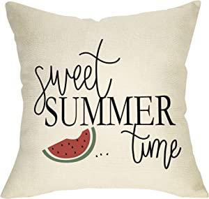 FBCOO Summer Farmhouse Decorative Throw Pillow Case Sweet Summer Time Decoration Watermelon Sign Cushion Cover Home Decor 18 x 18 Inch Cotton Linen for Sofa Couch