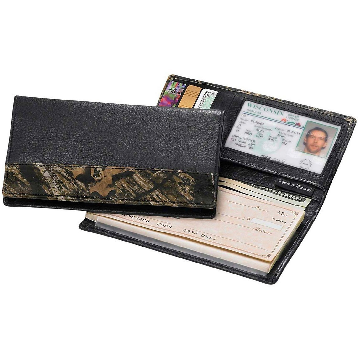 Legendary Whitetails Mossy Oak Leather Deluxe Camo Checkbook Cover by Legendary Whitetails