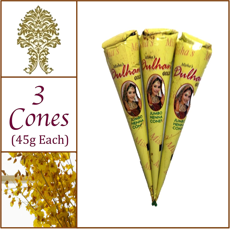 3 Jumbo Cones. Dulhan Gold Henna Paste. No Chemicals No PPD. 45g Ea. Misha