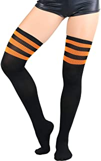 283d93bc7bdd6 ToBeInStyle Women's Seamless Athletic Thigh Highs With Three Stripe Top