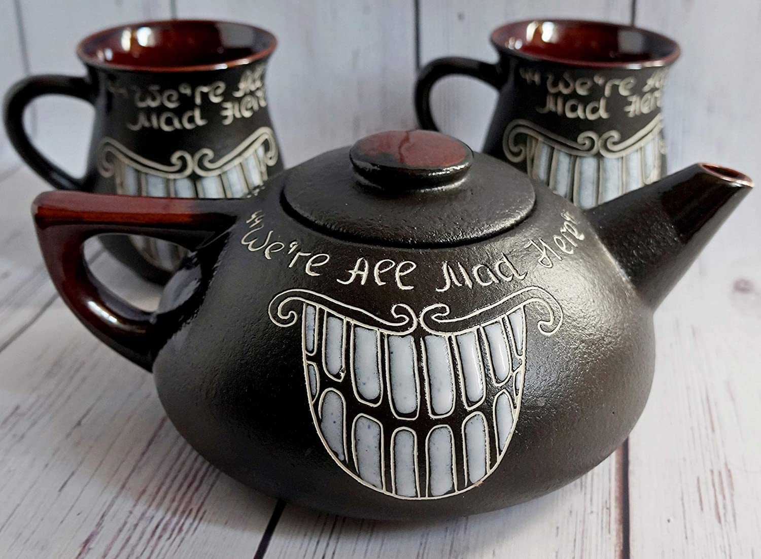 Tea set ceramic, Gift for fan Alice in wonderland, Handmade decor, Cheshire cat teapot, Funny tea set, We're All Mad Here We're All Mad Here