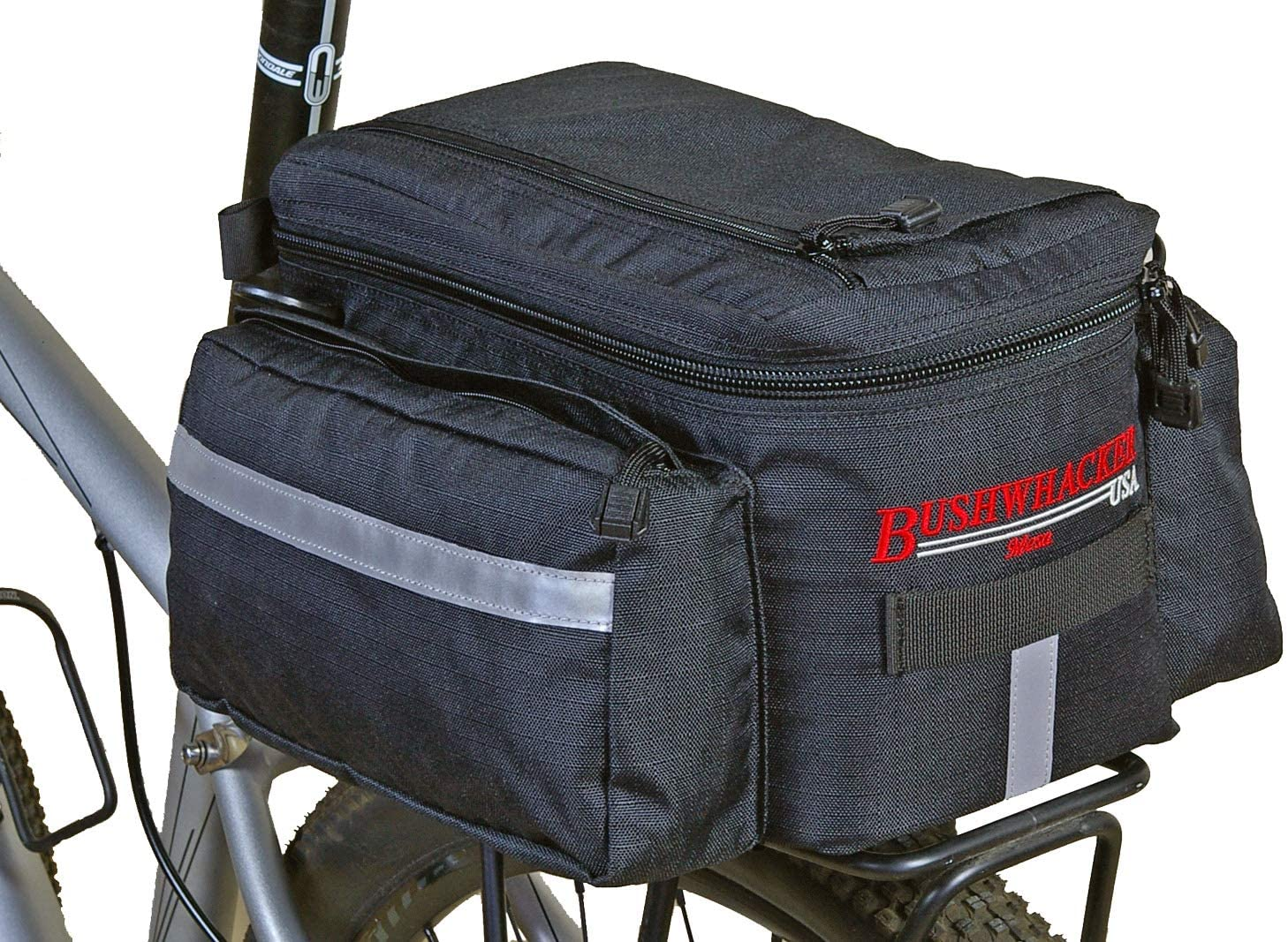 Bushwhacker Mesa Trunk Bag Black - w/Rear Light Clip Attachment & Reflective Trim - Bicycle Trunk Bag Cycling Rack Pack Bike Rear Bag Frame Accessories Behind Seat