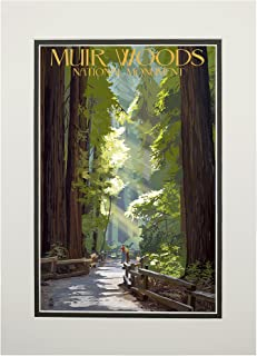 product image for Muir Woods National Monument, California - Pathway (11x14 Double-Matted Art Print, Wall Decor Ready to Frame)