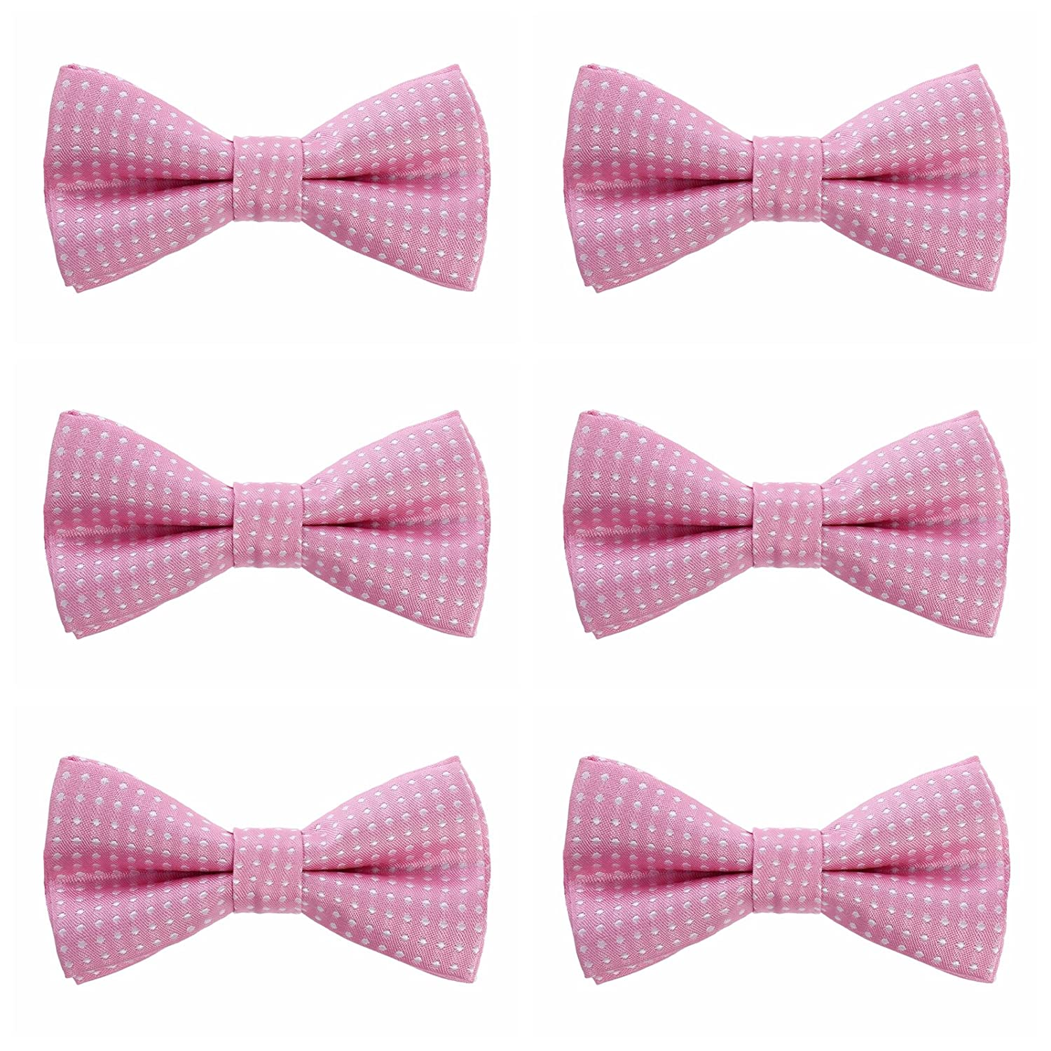 Boys Polka Dots Bow Ties 6 Pack of Double Layer Adjustable Pre Tied Bowties Pink