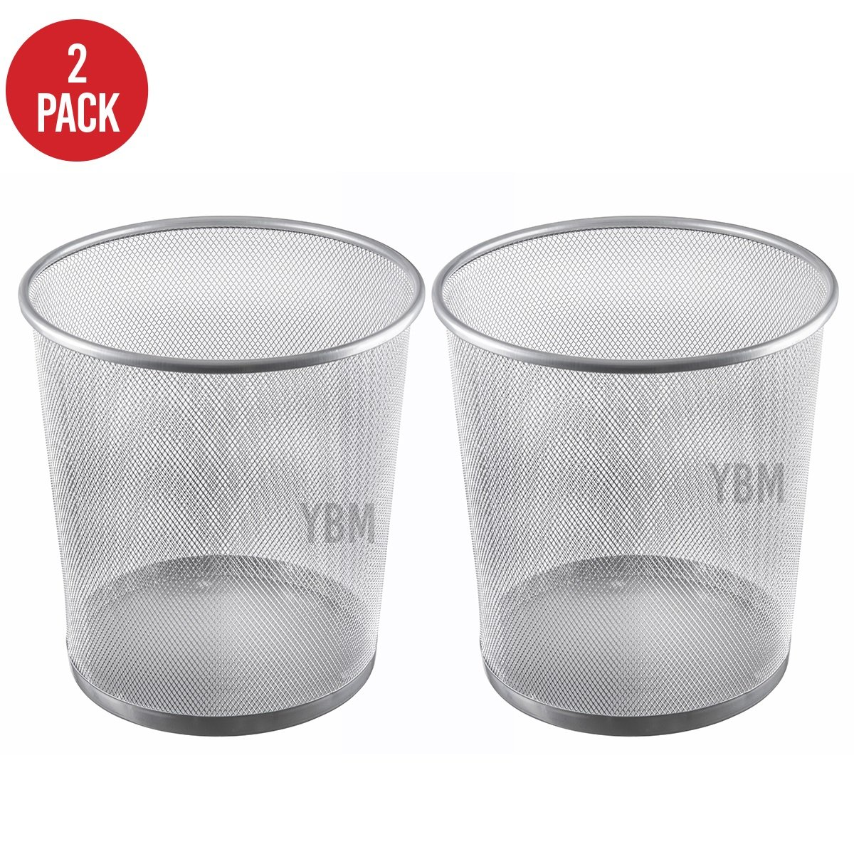 Ybmhome Steel Mesh Round Open Top Waste Basket Bin Trash Can for Office Home 2486-2 (2)