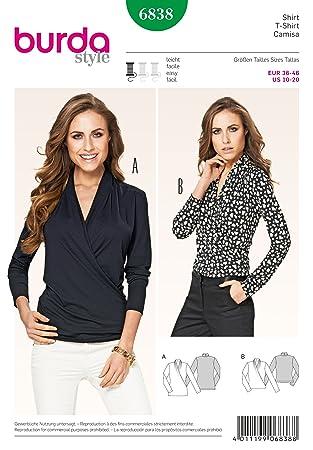 Burda Damen Schnittmuster 6838 – Stretch Knit Mock Wrap Tops: Amazon ...