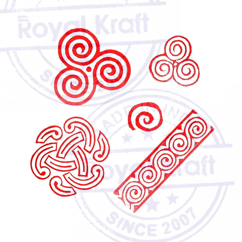Set of 5 Artisan Designs Swirl and Spiral Wood Print Stamps